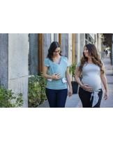 CAMISETA PORTABEBÉ gris y turquesa con bebé y en embarazada